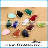 Korean fashion design high quality brass framed glass teardrop pendant for jewelry