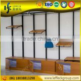 Design product exhibition metal pole clothes display stand wall shelf