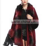 Autumn and winter new women large size loose imitation fox fur collar knitted cardigan shawl jacket