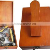 Home use luxury shoe shine kit wooden box package