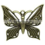 Charm Pendants Butterfly Antique Bronze Peace Symbol & Skull Halloween Pattern Carved 5.5cmx4.8cm