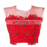 RED NET & RAW SILK READYMADE BLOUSE FOR WOMEN