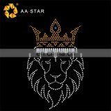 The latest design queen of lions rhinestone heat transfer sheets