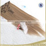 Natural cheap 100% human hair virgin clip in hair extensions for african american