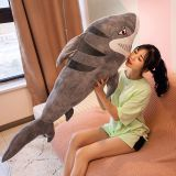 Simulation Big mouth sharp teeth plush toy shark for sleeping as present