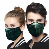 Reusable Washable Silvadure Printed Green Tartan Antibacterial Knitted Fashion Sports Mask