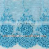 Elegant sky blue color polyester embroidery lace trimming