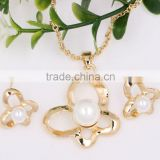 Fashion Christmas Gift Wedding Bridal Jewellry Butterfly Gold Pearl Necklace Earrings Jewelry Set