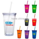 Insulated plastic 16 oz plastic tumbler with straw and pvc card