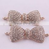 Fashion bow crystal rhinestone connector charms ! wholesale alloy glitter silver Connector for bracelet making!!