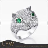 CYW Animal jewellery rhodium setting cubic zircon 925 silver leopard ring 925 sterling silver anello