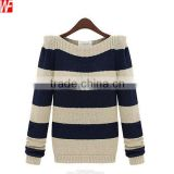Boat Neck Striped Women's Cashmere Sweater