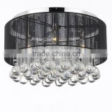 Modern Contemporary Black Crystal Chandelier Ceiling Light Lamp Lighting with Fabric Shade CZ1049/5B