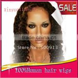 STOCK Water Wave Full Lace Human Hair Wigs For Black Women Bleached Knots Full Lace Wigs For African American 100% Virign Indian