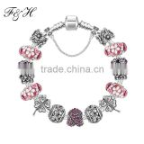 Exquisite Murano Glass Beads Bracelets & Bangles, Fashion Jewelry European Charm Bracelets, Lucky Silver Bead Bracelet