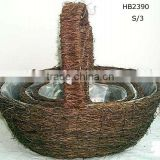 handing flower basket,rattan basket,garden basket,handle basket,flower pot basket,flower planter,wicker basket