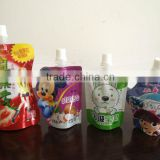 dairy beverage milk doypack with cover spout pouch filling and capping factory's machine