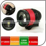 CREE XML-T6 led 8.4V 6600mAh battery front bicycle head lamp 1600 lumen zoom focus rechargeable led bike light