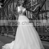 China cheaper wedding dress 2016 sexy off shoulder lace cover back A line wedding dress DM-070 vestido de noiva wedding dresses