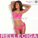 Wholesale Swimwear! RELLECIGA Solid Fluorescent/Neon Rose Full-Lined Bandeau Bikini Set with Front V