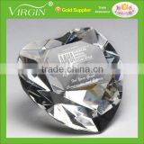 Wholesale customized blank clear glass crystal heart shape diamond paperweight with your logo for wedding favors gift