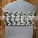YHS#566 sequin band polyester banquet wedding wholesale chair cover sash bow