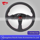 350mm Universal PVC Leather JDM Jet Style Black Racing Steering Wheel