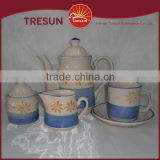 Wholesale creativity ceramic handpainted blue color tea pot sugar pot milk pot cup and saucer