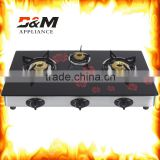 home appliance Fashion design freestanding table type glass top 3 burner gas cooker gas stove gas burner