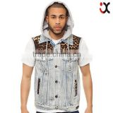 Thick Outerwear Hooded Patterns Fashionable Casual Cotton Men Vest Jacket Motorcycle Vest JXW8160