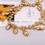 Metal cup strass chain crystal shaped marquise rhinestone trim chain for wedding dresses