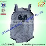 cute design front bow sleeveless baby bodysuit wholesale baby clothings