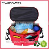 2015 High quality heavy duty red polyeste material durable handles hanging baby stroller bag