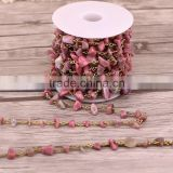 New Bronze Wire Wrapped Pink Gemstone Chips Beads Link Rosary Chains Jewelry Findingsry Chains