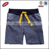 wholesale kintting pure cotton blank child short pants with striped pocket and bright yellow ties