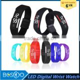 Fashion rectangle Bracelet boys girls Touch LED Watch Sport digital sports watchs unisex jelly candy rubber silicone wristband