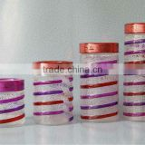 4pcs Hand drawing glass canister set;glassware