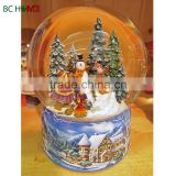 Auto snow and LED light Christmas Snow globe with music box