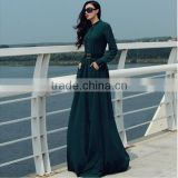 Women muslim long sleeve blue color button down full length big flare bulk wholesale maxi dress