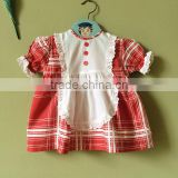 Hot sale lovely kids cotton clothes red plaid lace trim latest designs photos 2 year old baby girl dress