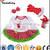 Wholesale children's boutique clothing Factory Directly polka dot patternn baby clothes christmas long sleeve baby rompers