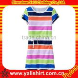 Wholesale high quality fashion plain short sleeve cotton casual striped long dresses for kids