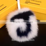 Real Fur Fox pom pom keychains handmade 15cm Ball pendant for bag charm pluffy bag bug capital letter A to Z