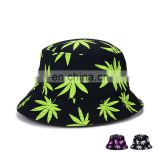 Unisex Black DoodleColor Maple Leaf Sunshade Bucket Hat Boonie Hunting Fishing Outdoor Cap Women's Summer Sun Hats