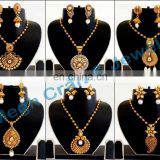 Pakistani Bridal Jewelry-Wholesale Antique Gold Plated Oversize Pendant Set-Designer Exclusive Indian Costume jewelry