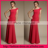 Hot Sale One Shoulder Shealth Style with Ruffles Floor Length Evening Dress for Muslim Women