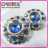 High quality blue color plastic Acrylic rhinestones button