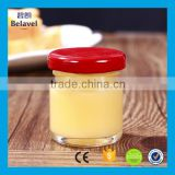Wholesale mini 35ml round clear honey glass jar with metal lid                                                                         Quality Choice