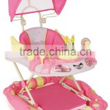 Round Plasitc Toy Out door Baby Walker With Push Bar and Canopy LW1832C