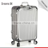 New design trolley suitcase,high quality aluminum polished travel luggage bags with hardshell